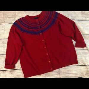 Talbots 2X red wool blend fair isle yoke cardigan